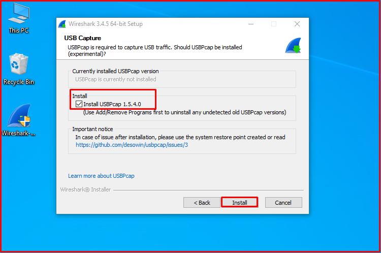 Install USBPcap