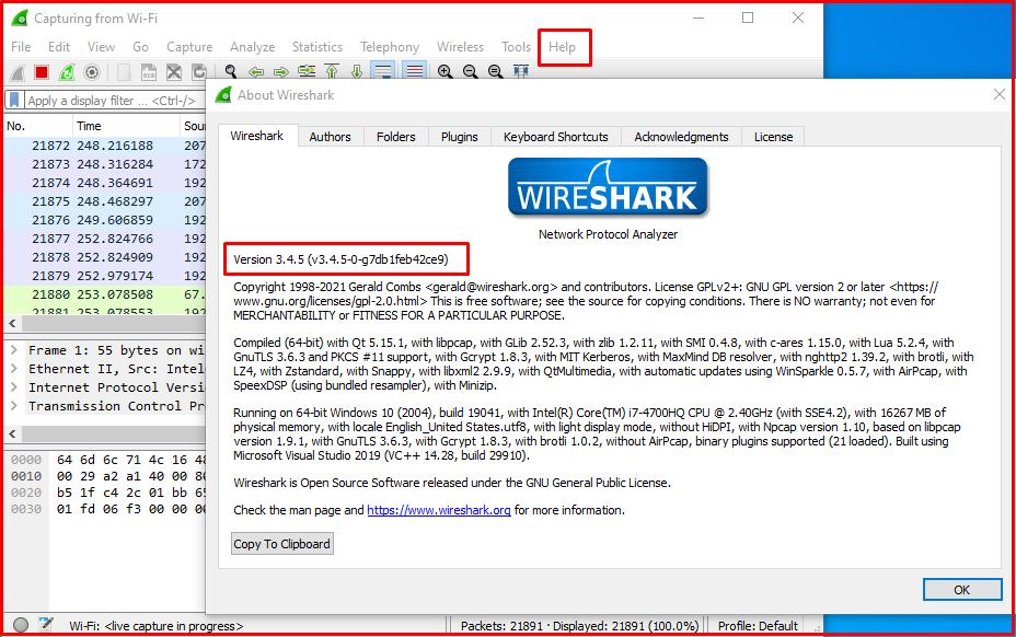 Help/About Wireshark