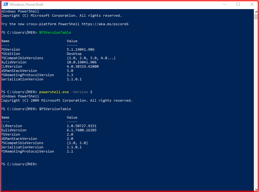 Security Risks of Powershell Version 2.0