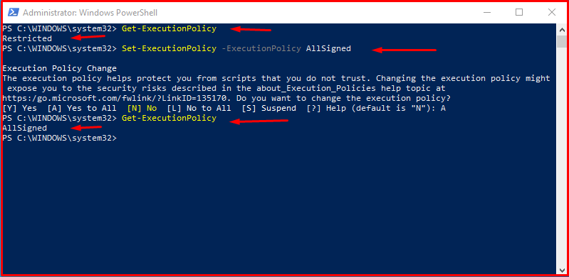 Setting Execution Policy in PowerShell