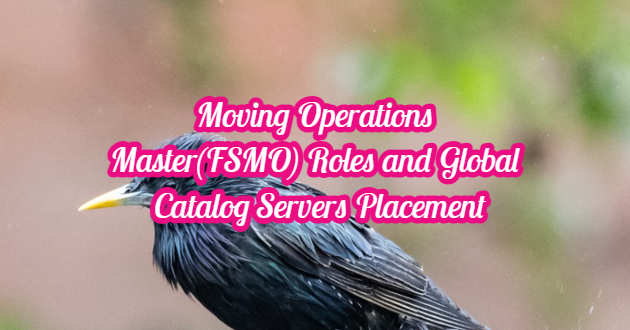 Moving Operations Master(FSMO) Roles and Global Catalog Servers Placement