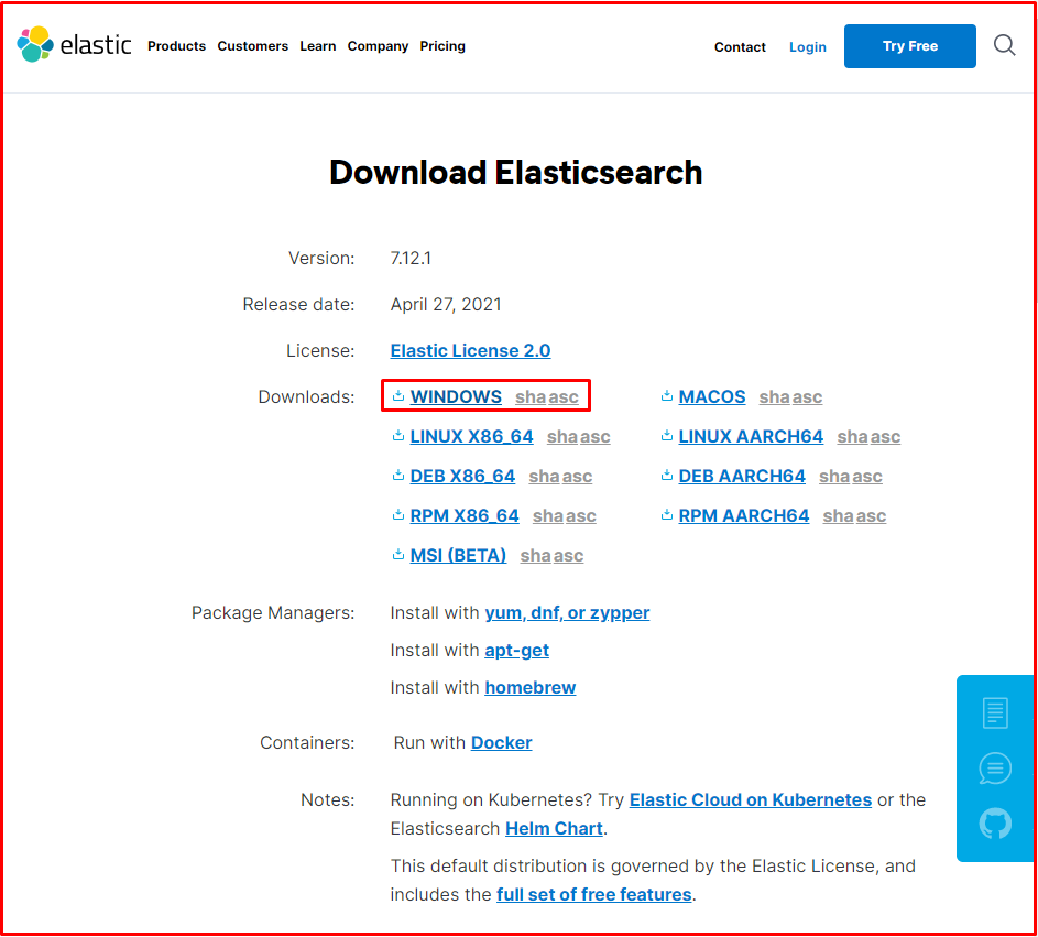 download Elastichsearch