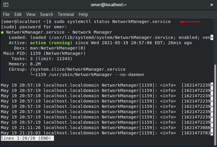 systemctl status NetworkManager.service
