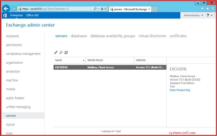 Exchange Admin Center > Servers