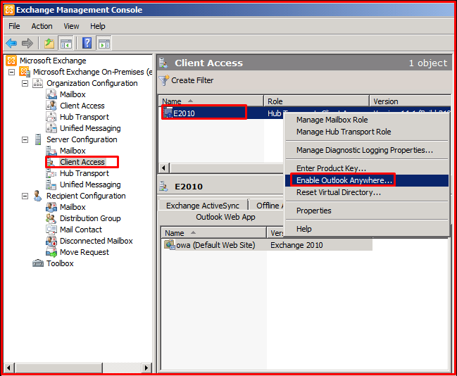 Server Configuration –> Client Acess