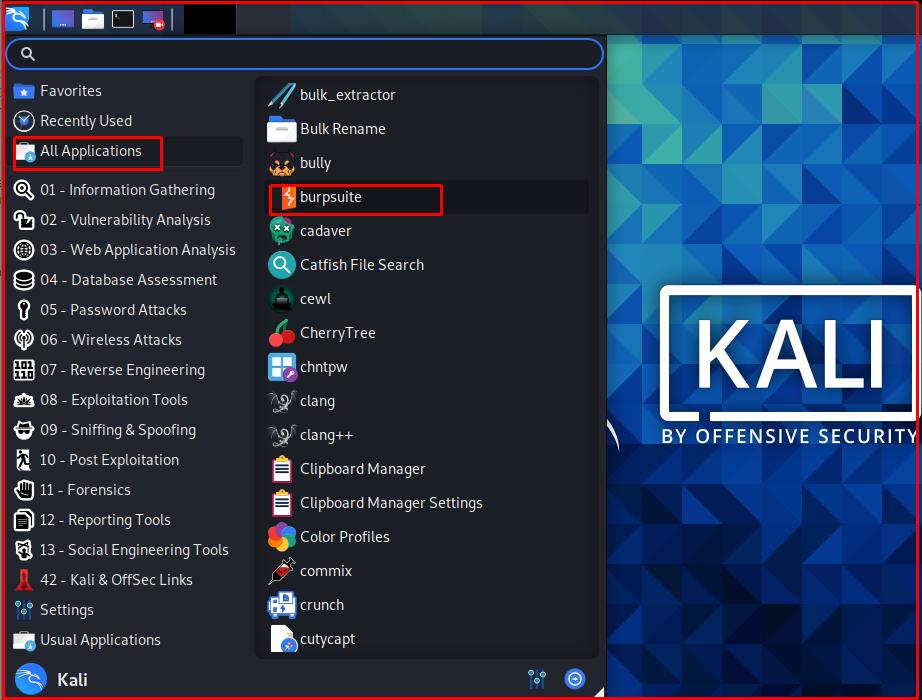 Kali Linux -> Burp Suite