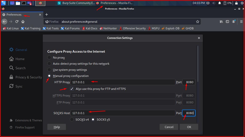 Proxy server settings