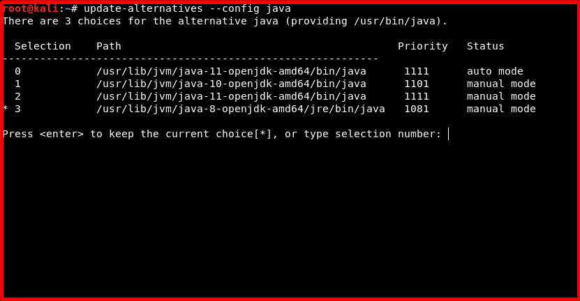 update-alternatives --config java
