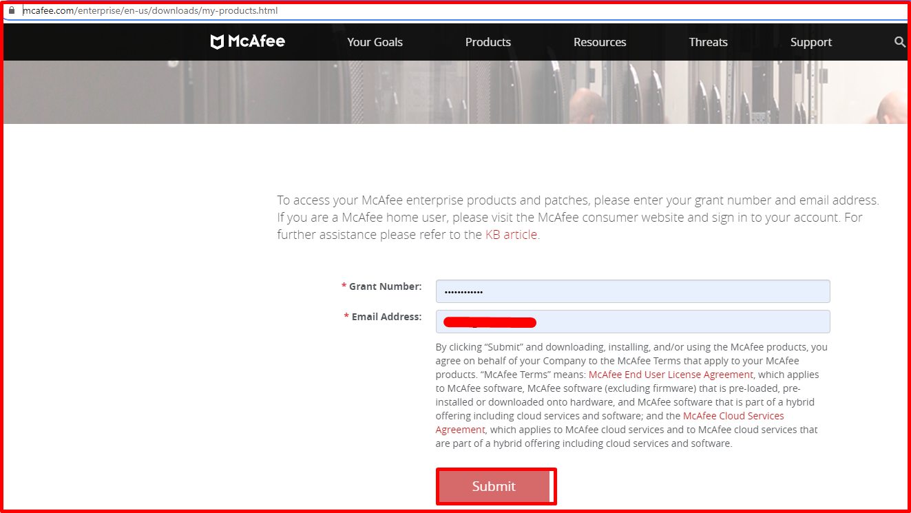 Mcafee products site