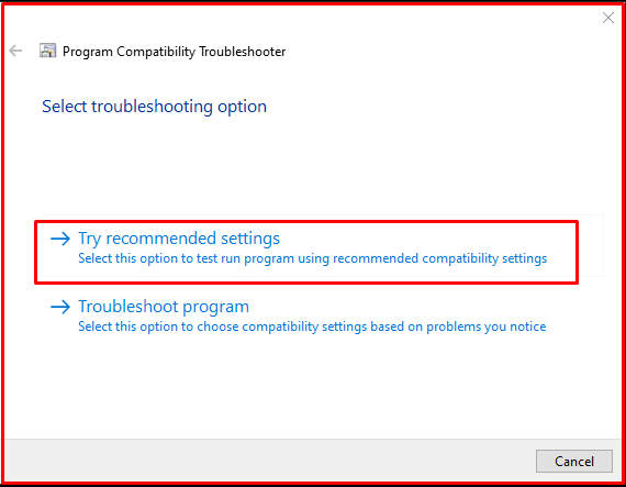 Try recommended settings