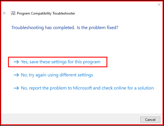 Yes, save these settings for this program