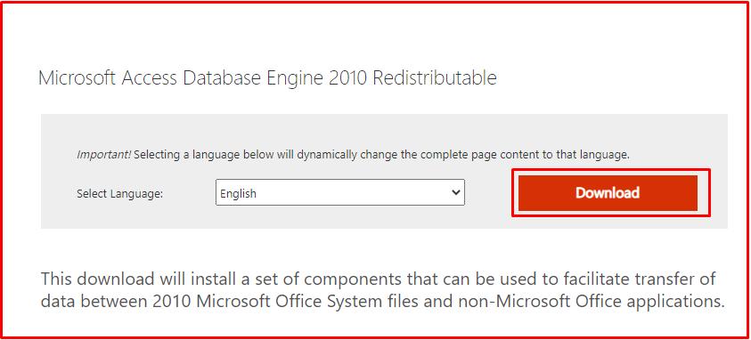 Microsoft Access Database Engine 2010 Redistributable