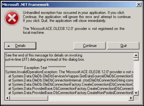 .Net Framework Error - Microsoft.ACE.OLEDB.12.0