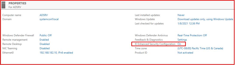 IE Enhanced Security Configuration