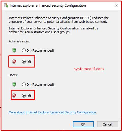 Internet Explorer Enhanced Security Configuration(IE ESC)