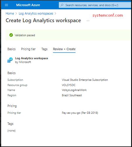 Creating Log Analytics Workspace