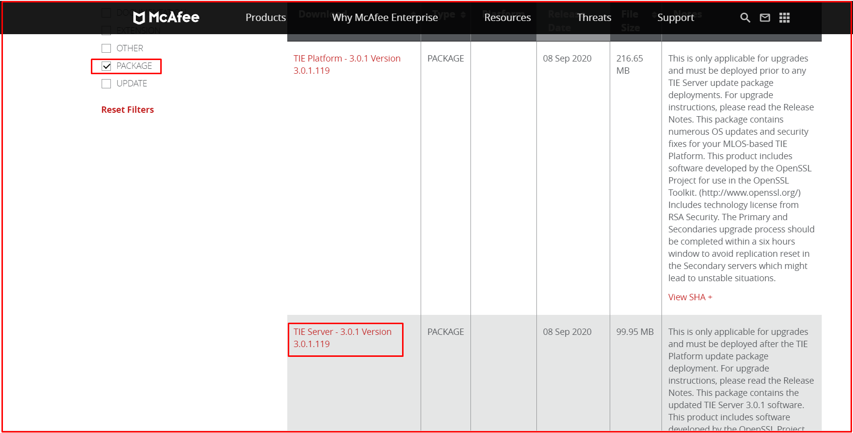 TIE Server - 3.0.1.119 Version