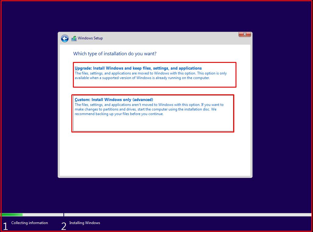 Custom: Install Windows only(advanced)