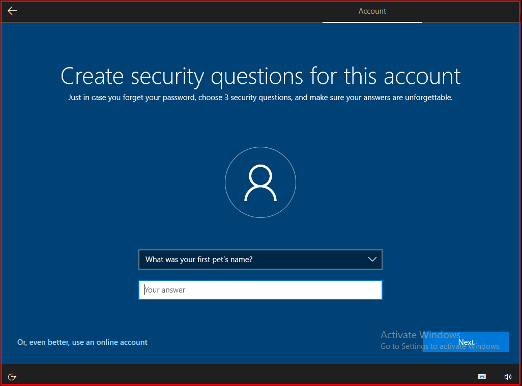 security questions will appear for three accounts
