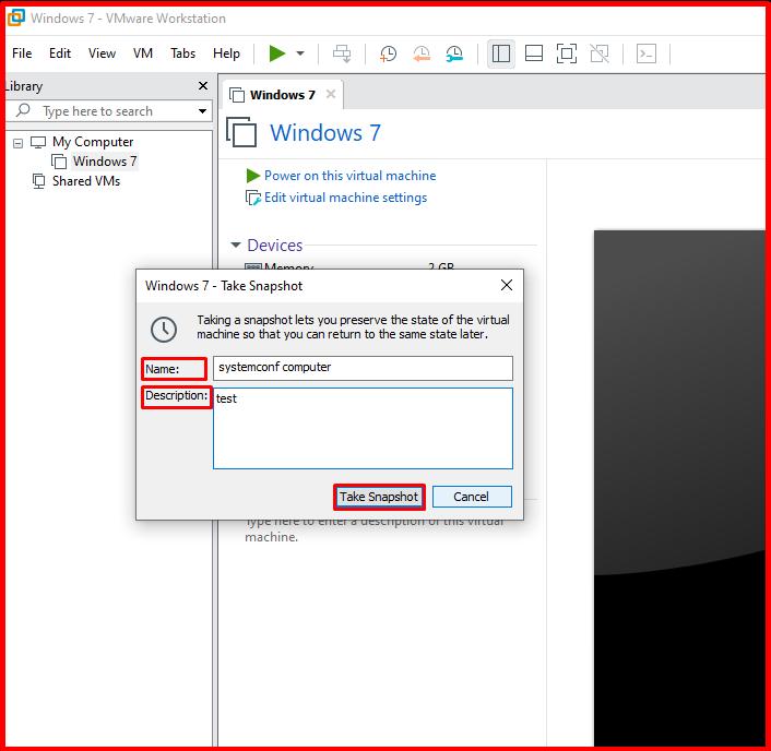 """VMware """"Take Snapshot"""""""
